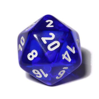 d20 - Transparent blue 20-sided dice