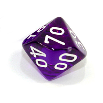 d10 - Transparent purple 10-sided tens dice