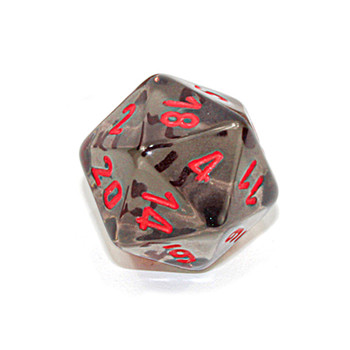 d20 - Transparent smoke 20-sided dice with red numbers