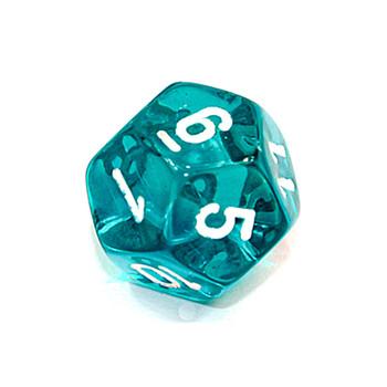 d12 - Transparent teal 12-sided dice
