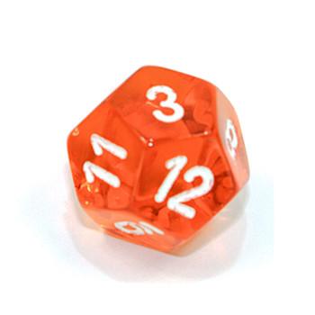 d12 - Transparent orange 12-sided dice