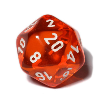 d20 - Transparent orange 20-sided dice