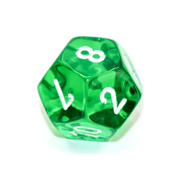 d12 - Transparent green 12-sided dice