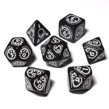 Dragon Dice Set - Opaque - Black with White