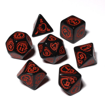 Dragon Dice Set - Opaque - Black with Red
