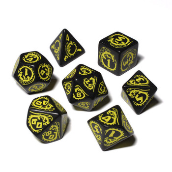 Dragon Dice Set - Opaque - Black with Yellow