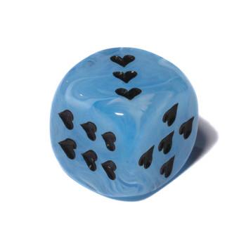 Hearts 6-sided Dice - Light Blue
