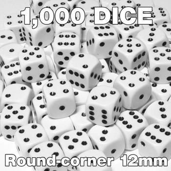 1000 white 12mm opaque round-corner dice - Bulk gaming dice