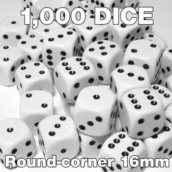 1000 white round-corner opaque dice - Bulk gaming dice