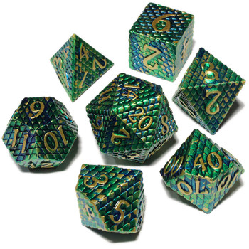 Dragon Scales dice set - Metal dice - Green and Blue