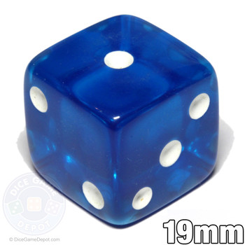 Blue transparent 19mm dice