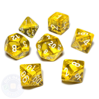 D&D dice set - Transparent yellow