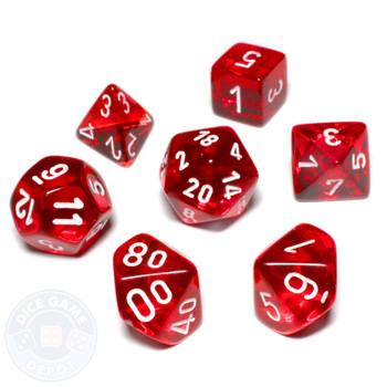 7-piece dice set - Transparent red D&D dice set