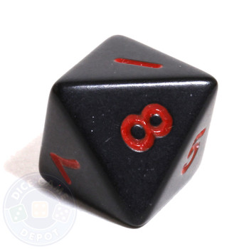 d8 - Black with Red Numbers