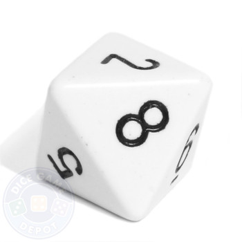 Opaque d8 - White 8-sided dice