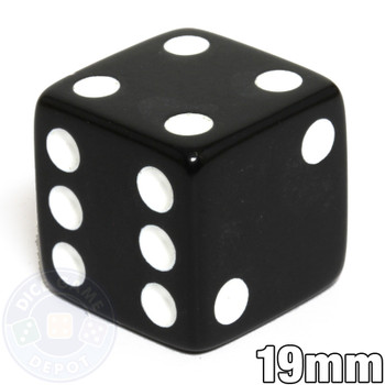 19mm Opaque Dice - Black