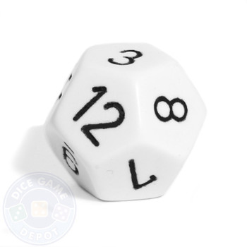 d12 - White 12-sided opaque dice