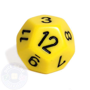 d12 - Opaque Yellow 12-sided dice