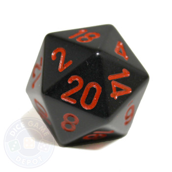 20-sided dice - Black with red numbers
