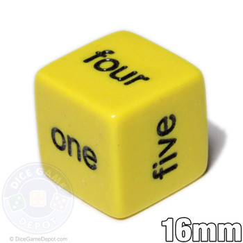 Word number dice - Yellow