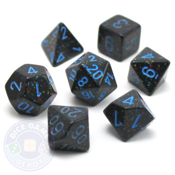 Dice set - Speckled - Blue stars