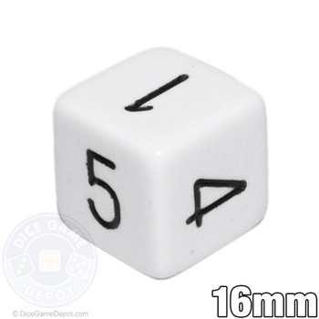 White 6-sided dice with numerals