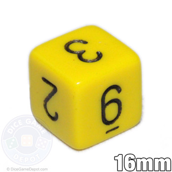 Opaque Yellow Numeral Dice