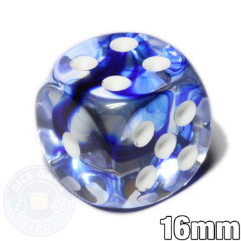 Nebula 16mm blue dice from Chessex