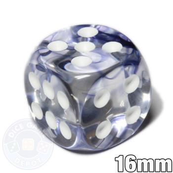 Black Nebula 6-sided dice with white spots
