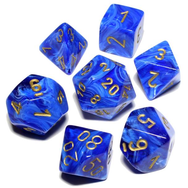Blue Vortex polyhedral dice set