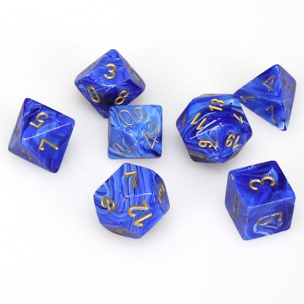 7-piece set of D&D dice set - Vortex - Blue