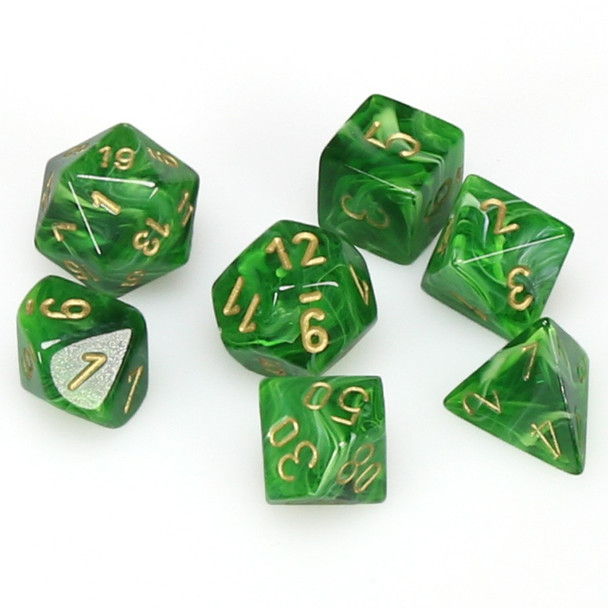 7-piece set of D&D dice - Vortex - Green