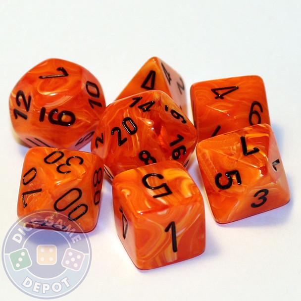 7-piece set of RPG dice - Vortex - Orange