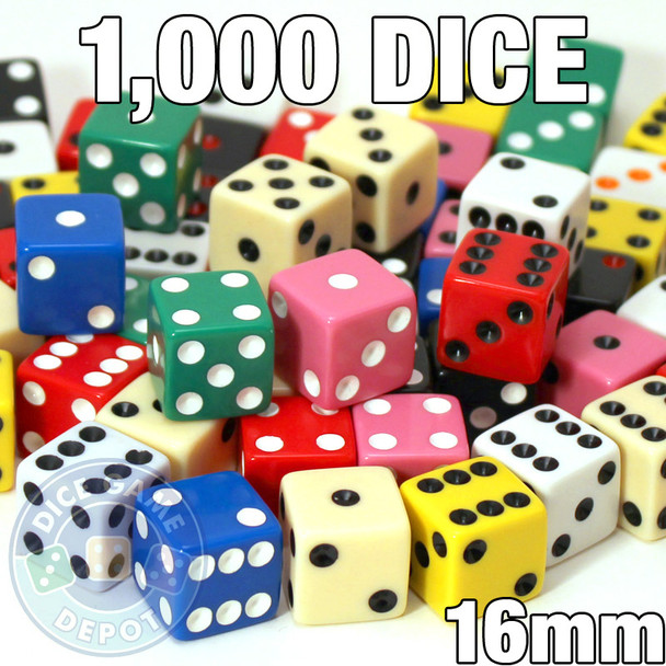Assorted 16mm dice - Set of 1000