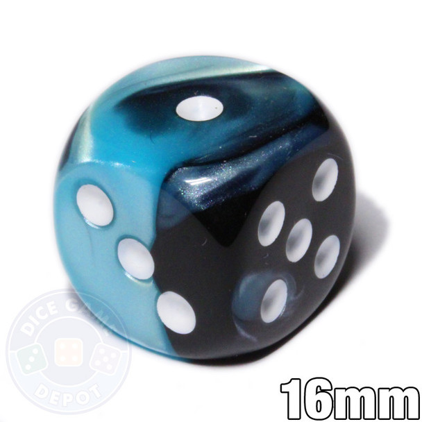 Gemini 6-sided dice - Black and Shell