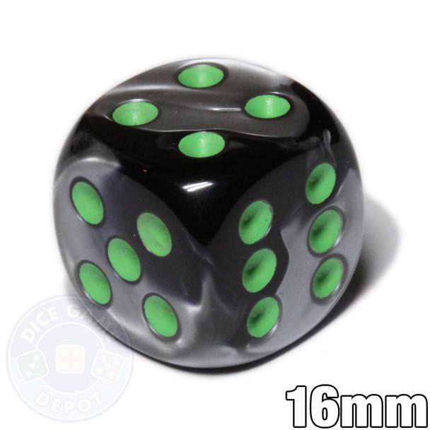 Gemini d6 dice - Black and gray