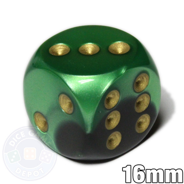Gemini d6 dice - Black and green with gold pips