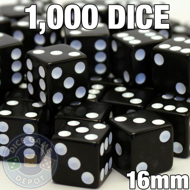 1000 black opaque dice - Bulk gaming dice