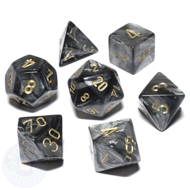 D&D dice - Lustrous Black Dice Set with Gold Numbers