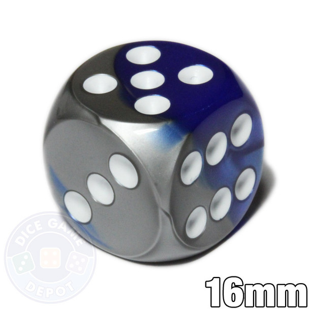Gemini d6 dice - Blue and silver with white pips