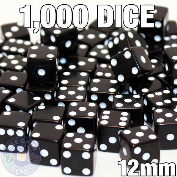 1000 black 12mm opaque dice - Bulk gaming dice