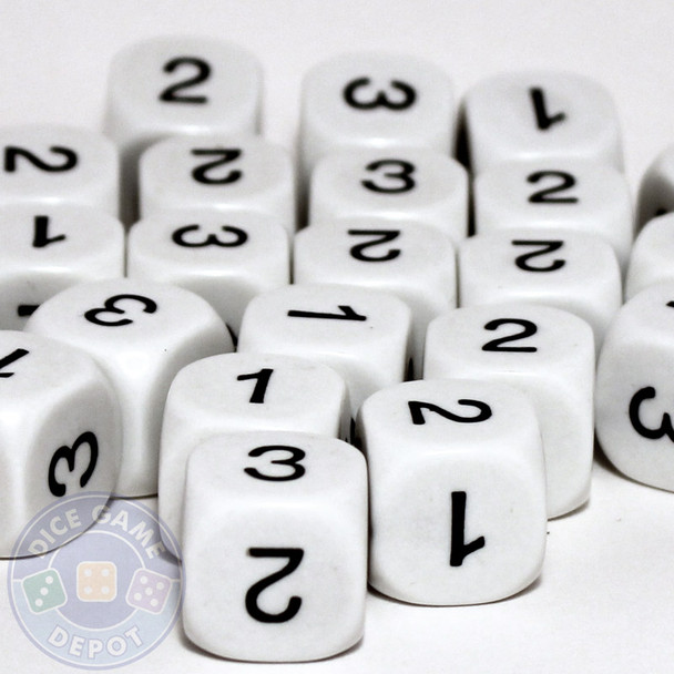 Math dice set of 200 - One through three