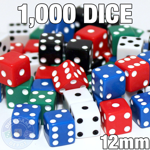 Set of 1000 assorted 12mm dice