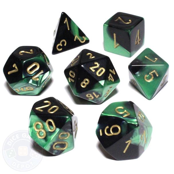 7-piece Gemini dice set - Black and Green