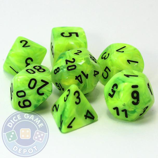 7-piece set of D&D RPG dice - Vortex - Bright Green