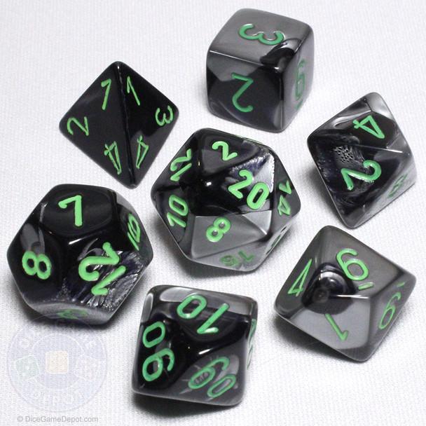 Black and gray Gemini dice set - DnD dice
