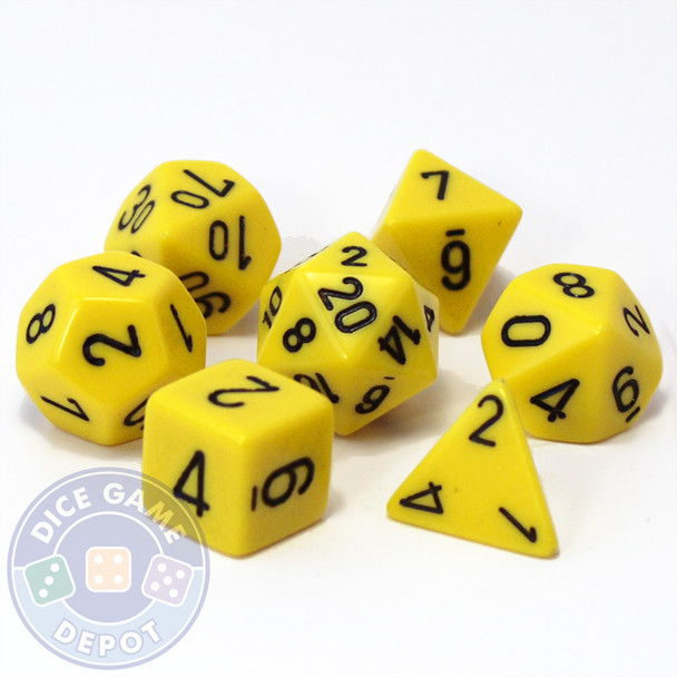 Opaque yellow 7-piece D&D RPG dice set