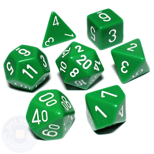 Opaque green dice set
