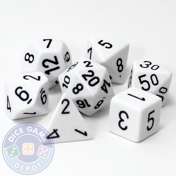 Opaque white 7-piece D&D RPG dice set