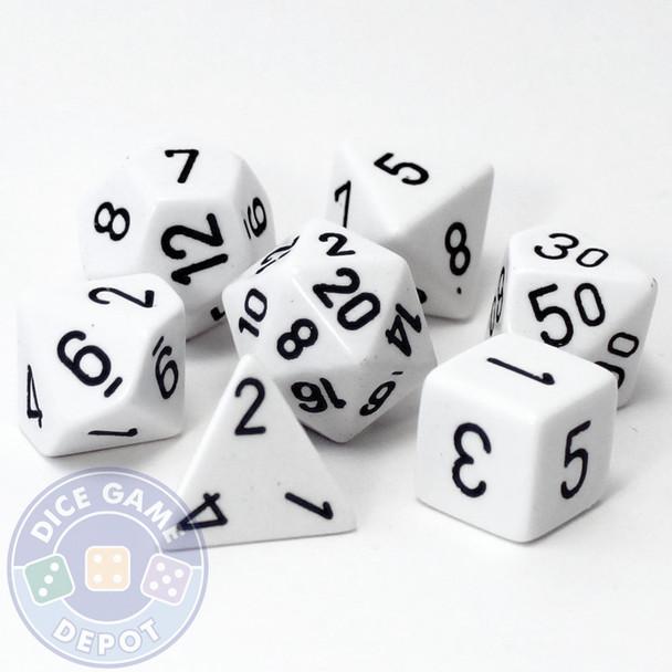 Opaque white 7-piece D&D RPG dice set